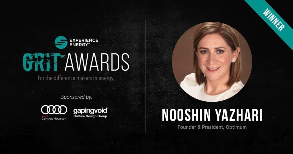 Optimum's President, Nooshin Yazhari, has been awarded the International GRIT Award of 2018!