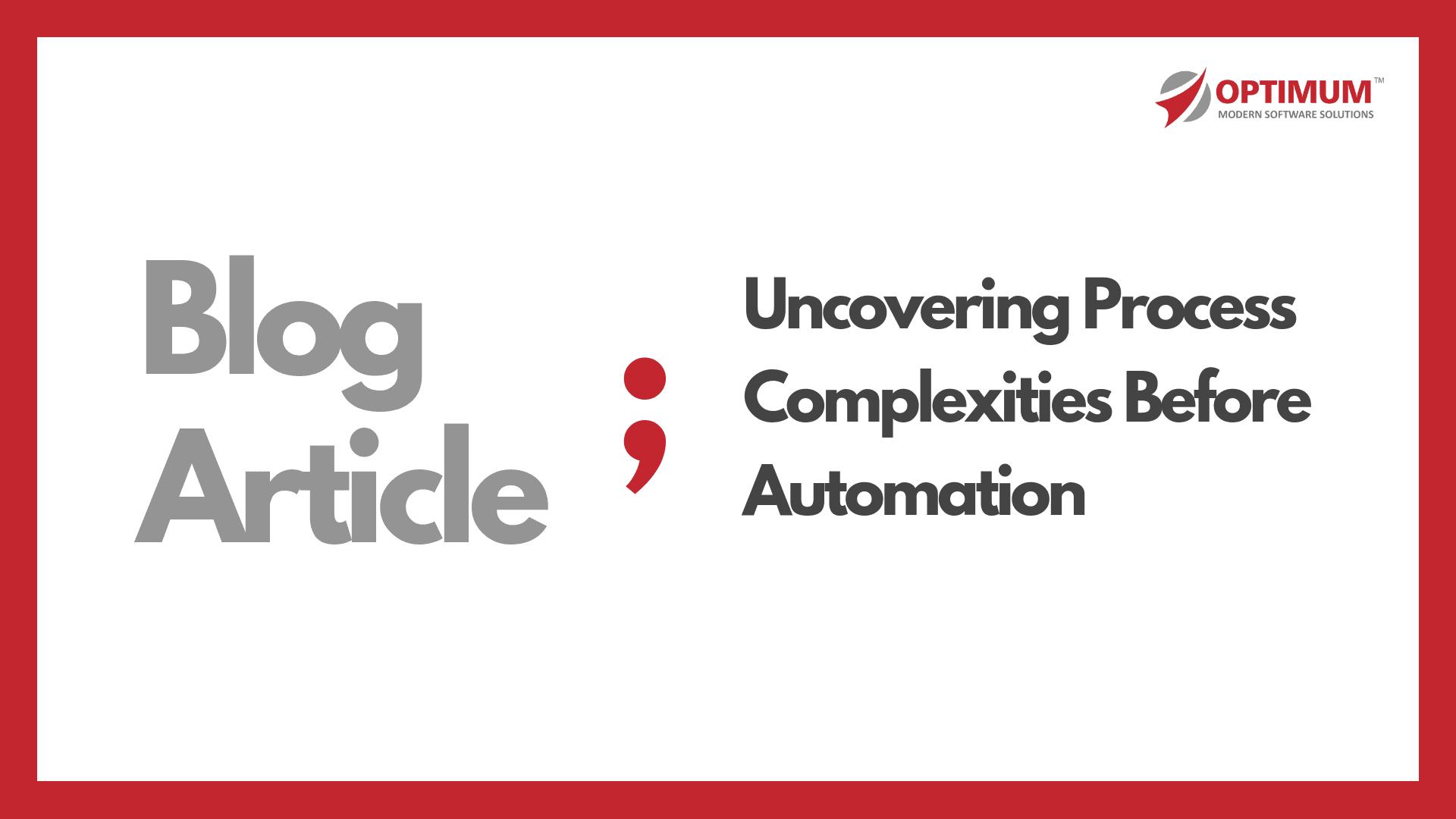 Optimum Process Automation Blog Article